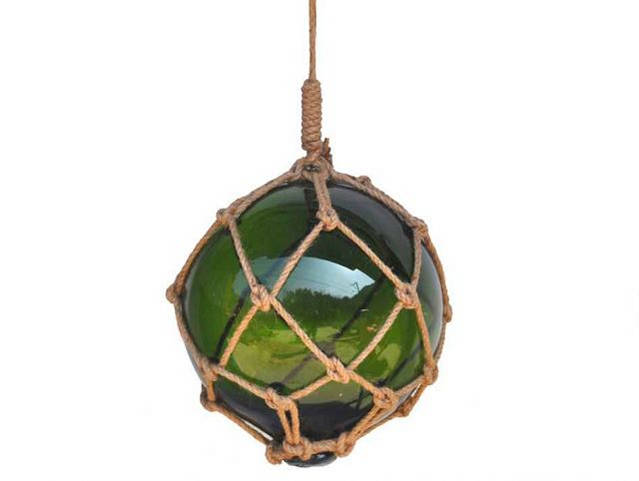 Green Japanese Glass Ball Fishing Float With Brown Netting Decoration 12
