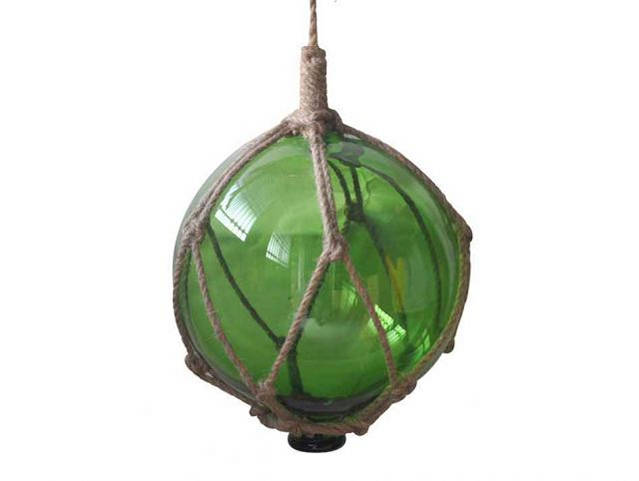 Green Japanese Glass Ball Fishing Float With Brown Netting Decoration 8