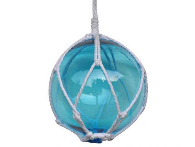 Light Blue Japanese Glass Ball Fishing Float With White Netting Decoration 8