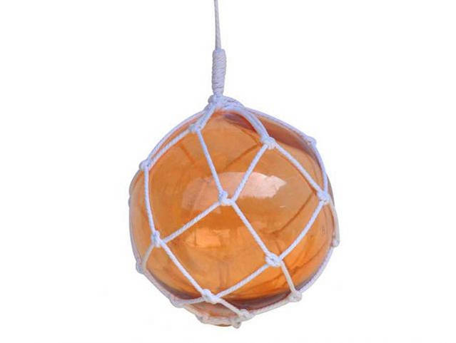 Orange Japanese Glass Ball Fishing Float With White Netting Decoration 12