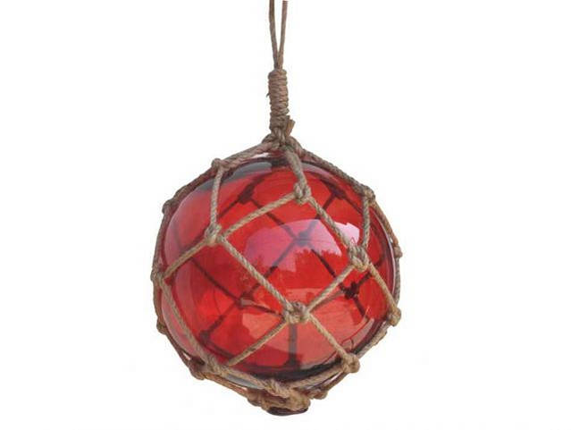 Red Japanese Glass Ball Fishing Float With Brown Netting Decoration 12