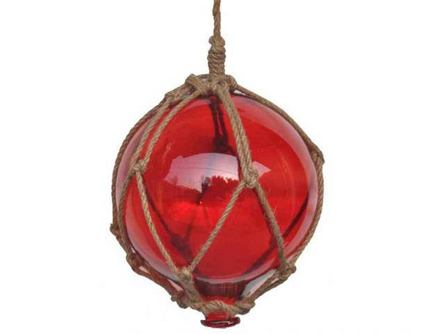 Red Japanese Glass Ball Fishing Float With Brown Netting Decoration 8