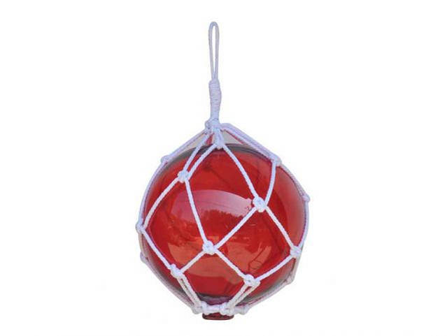 Red Japanese Glass Ball Fishing Float With White Netting Decoration 12