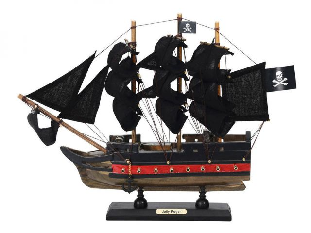 Wooden Captain Hooks Jolly Roger from Peter Pan Black Sails Limited Model Pirate Ship 12