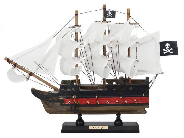 Wooden Captain Hooks Jolly Roger from Peter Pan White Sails Limited Model Pirate Ship 12