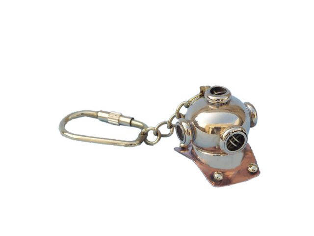 Solid Brass-Copper Diving Helmet Key Chain 5