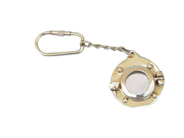 Solid Brass Porthole Mirror Key Chain 5
