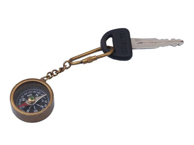 Antique Brass Compass Key Chain 5