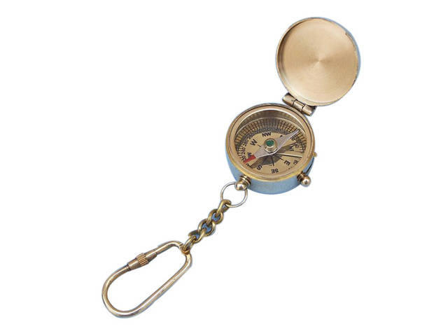 Solid Brass Compass w-Lid Key Chain 5