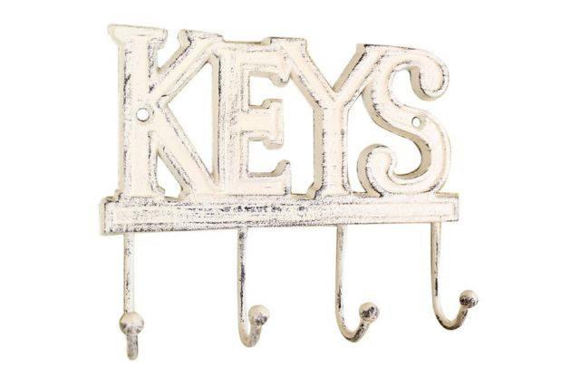 Whitewashed Cast Iron Keys Hooks 8