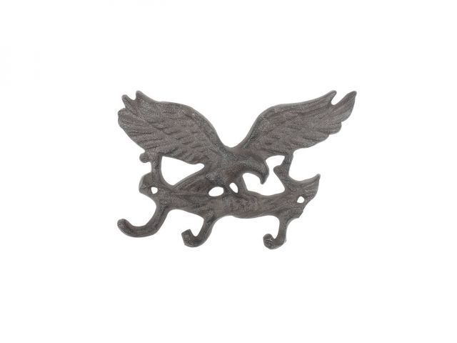 Cast Iron Flying Eagle Landing on a Tree Branch Decorative Metal Wall Hooks 7.5