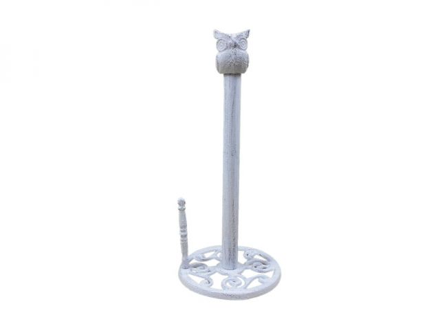 Whitewashed Cast Iron Sitting Owl Kitchen Paper Towel Holder 16