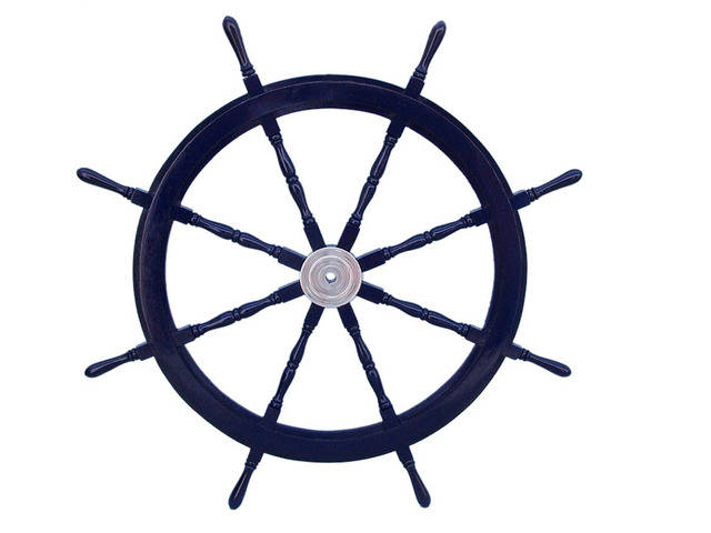 Deluxe Class Dark Blue Wood and Chrome Decorative Ship Steering Wheel 48