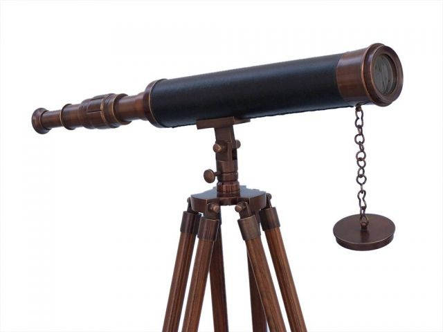 Floor Standing Antique Copper With Leather Harbor Master Telescope 50
