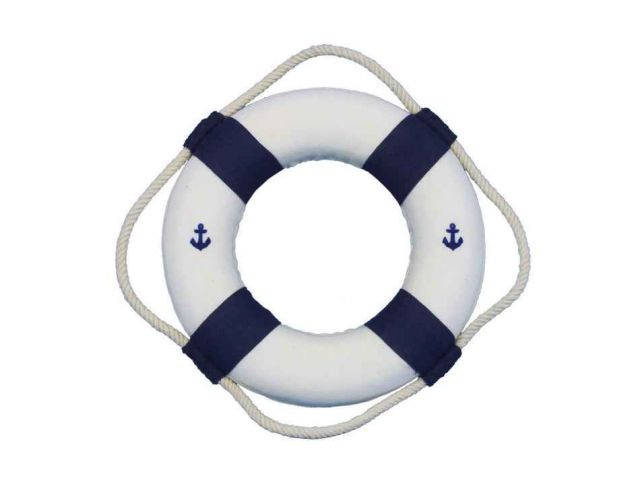 Classic White Decorative Anchor Lifering With Blue Bands Christmas Ornament 6