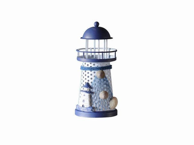 LED Lighted Decorative Metal Lighthouse with Small Lighthouse 6