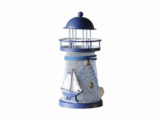 LED Lighted Decorative Metal Lighthouse with Sailboat Christmas Ornament 6
