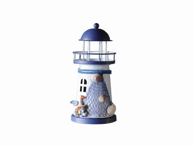 LED Lighted Decorative Metal Lighthouse with Seagull Christmas Ornament 6