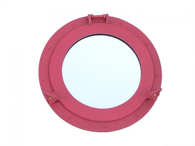 Rustic Red Aluminum Deluxe Class Decorative Ship Porthole Mirror 15