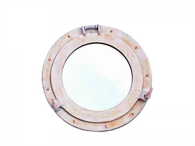 Rustic White Aluminum Deluxe Class Decorative Ship Porthole Mirror 15