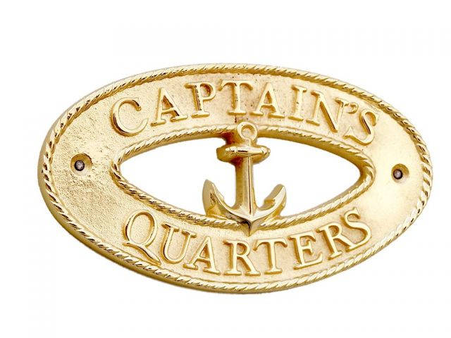 Brass Captains Quarters Oval Sign with Anchor 8