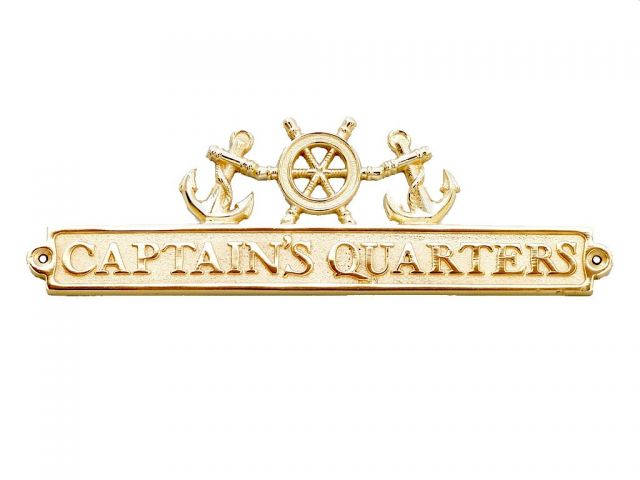 Brass Captains Quarters Sign with Ship Wheel and Anchors 12