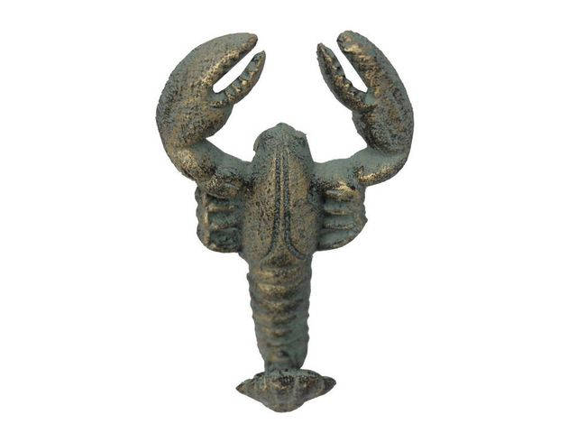 Antique Seaworn Bronze Cast Iron Wall Mounted Lobster Hook 5