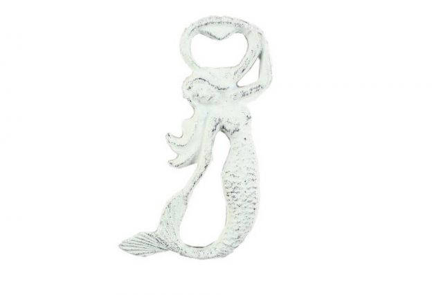 Rustic Whitewashed Cast Iron Arching Mermaid Bottle Opener 6