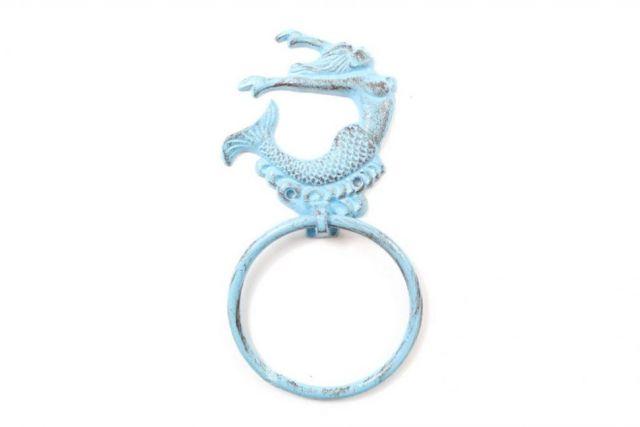 Rustic Light Blue Cast Iron Arching Mermaid Towel Holder 9