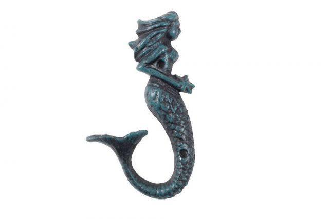 Seaworn Blue Cast Iron Decorative Mermaid Hook 6