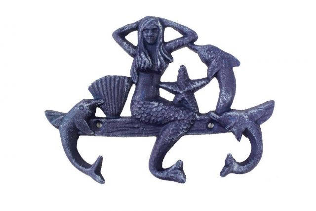 Rustic Dark Blue Cast Iron Wall Mounted Mermaid with Dolphin Hooks 9