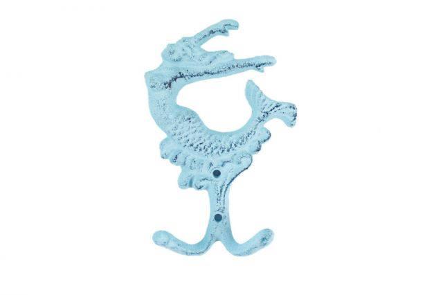 Rustic Dark Blue Whitewashed Cast Iron Mermaid Key Hook 6