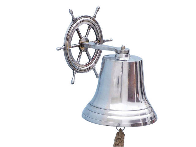 Chrome Hanging Ship Wheel Bell 14