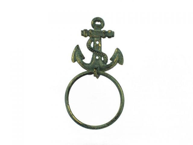 Antique Bronze Cast Iron Anchor Towel Holder 8.5