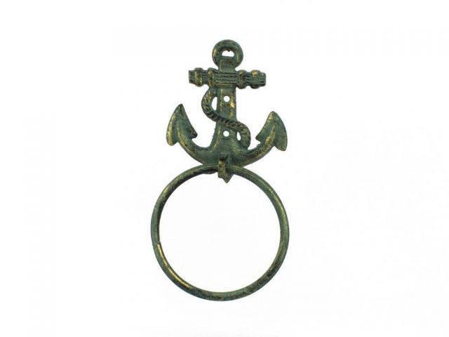 Antique Bronze Cast Iron Anchor Towel Holder 8.5