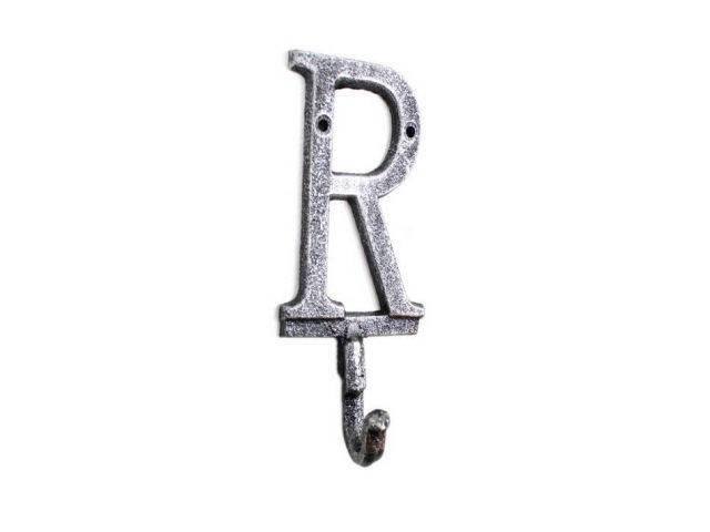 Rustic Silver Cast Iron Letter R Alphabet Wall Hook 6