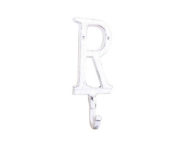 Whitewashed Cast Iron Letter R Alphabet Wall Hook 6
