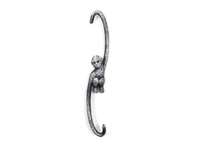 Rustic Silver Cast Iron Monkey Hook 10