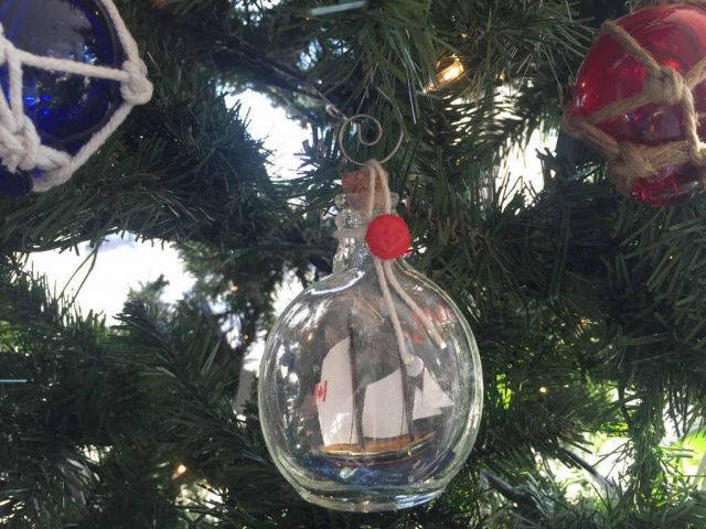 Bluenose Sailboat in a Glass Bottle Christmas Ornament 4