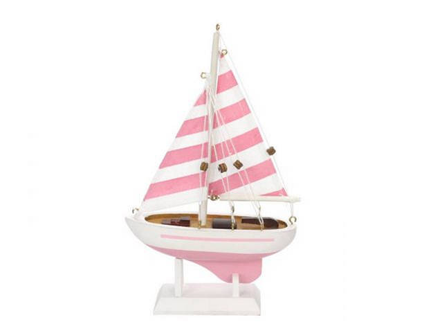 Wooden Pretty in Pink Model Sailboat 9