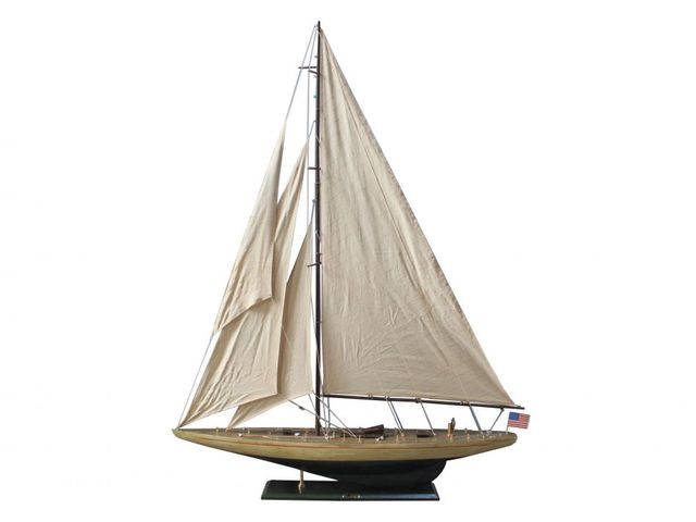Wooden Rustic Enterprise Model Sailboat Decoration 60