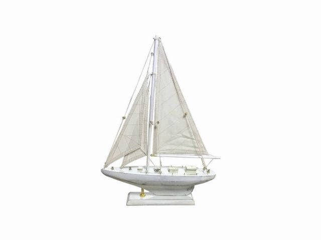Wooden Rustic Whitewashed Pacific Sailer Model Sailboat Decoration 17