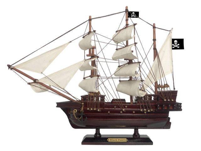 Wooden Black Pearl White Sails Pirate Ship Model 15