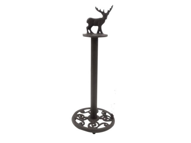 Cast Iron Moose Bathroom Extra Toilet Paper Stand 16