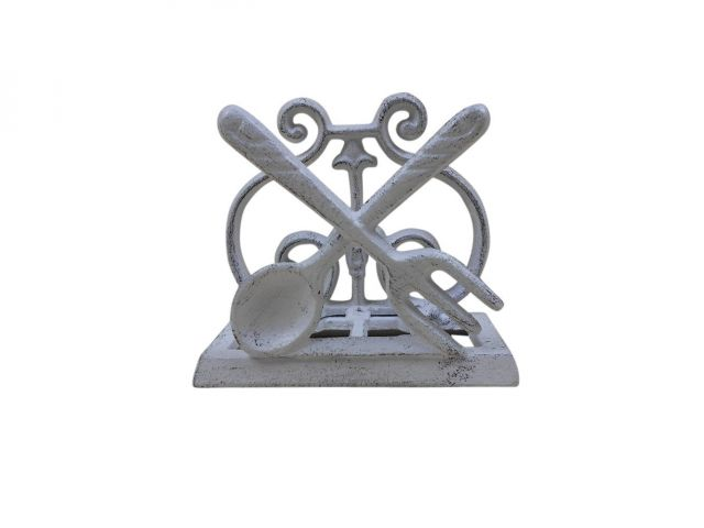 Whitewashed Cast Iron Fork and Spoon Kitchen Napkin Holder 5