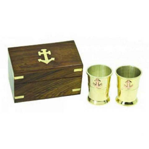 Set of 2 - Solid Brass Anchor Shot Glasses With Rosewood Box 4