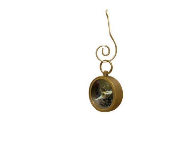 Antique Brass Decorative Compass Christmas Ornament 4