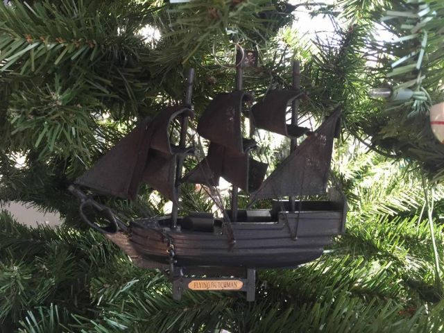 Wooden Flying Dutchman Pirates of the Caribbean Model Pirate Ship Christmas Tree Ornament