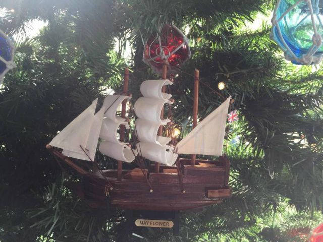Wooden Mayflower Model Ship Christmas Tree Ornament