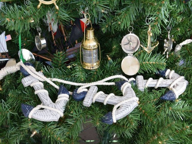 Rustic Blue Decorative Triple Anchor Set Christmas Tree Ornament